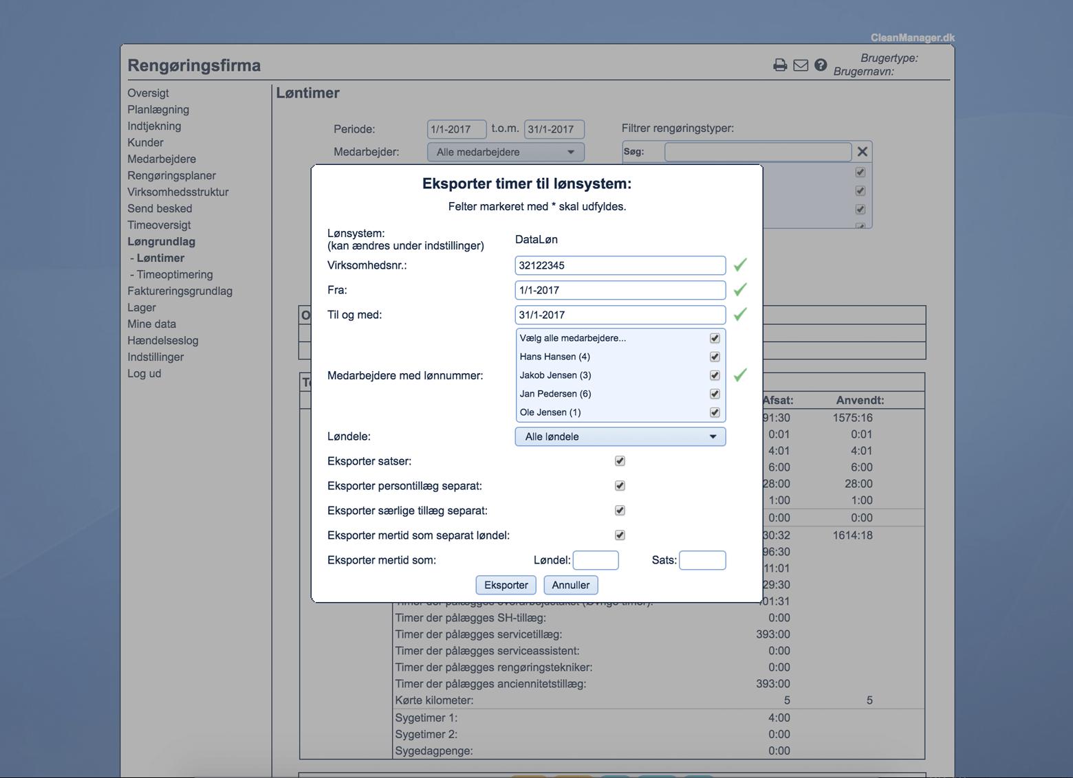 Skærmbillede af løneksport i CleanManager