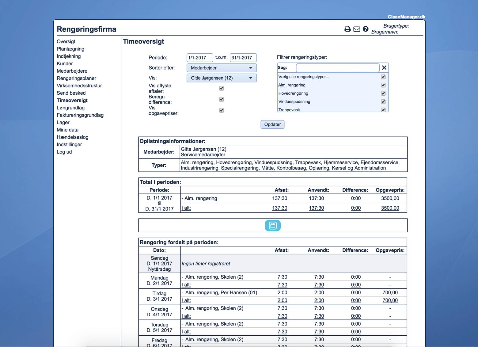 Skærmbillede af timeregistrering i CleanManager