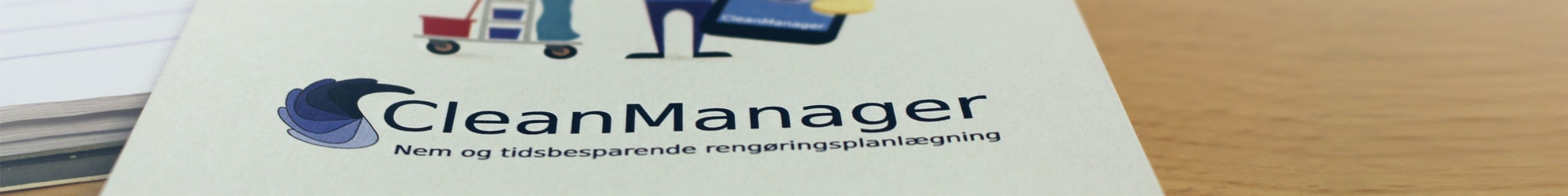 CleanManager logo closeup på postkort