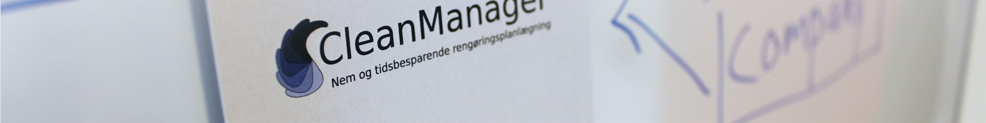CleanManager logo på whiteboard